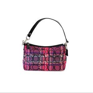 Coach multicolor shoulder strap poopy plaid purse